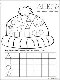 Kleur de vormen in de juiste kleur en duidt de juiste hoeveelheid aan in het rooster