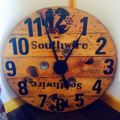 DIY Large Wood Spool Clock made from an old cable spool. This Clock ...