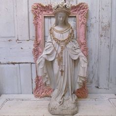 """White Virgin Mary statue French Nordic large antique Madonna embellished crown and jewelry 36"""" inches tall Anita Spero Design"""