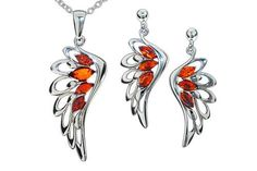 Silver wings jewelry set, sterling silver jewellery, silver earings amber, 925 silver amber pendant