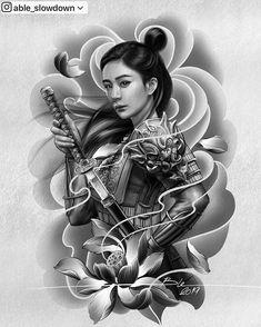Able Slowdown ( Geisha Tattoo Design, Japan Tattoo Design, Japanese Tattoo Designs, Japanese Tattoo Art, Tattoo Design Drawings, Tattoo Sketches, Geisha Art, Japanese Dragon Tattoos, Traditional Japanese Tattoos