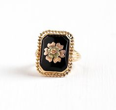 Sale - Vintage 10k Yellow & Rose Gold Black Onyx Flower Ring - 1930s Art Deco Size 5 1/2 Dark Gem Floral Fine Statement Esemco Jewelry by MaejeanVintage on Etsy https://www.etsy.com/listing/241231617/sale-vintage-10k-yellow-rose-gold-black