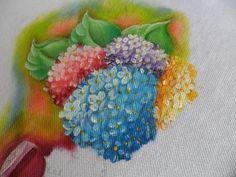 Como pintar Hortênsia em tecido - How to paint fabric Hydrangea