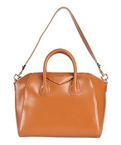 Givenchy Antigona Tan Leather Medium Satchel Handbag w/ Shoulder Strap