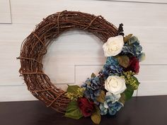 Grapevine Wreath with Mixed Flowers . Homemade Wreaths, Front Door Decor, Grapevine Wreath, Grape Vines, Spring, Flowers, Handmade, Hand Made, Vineyard Vines