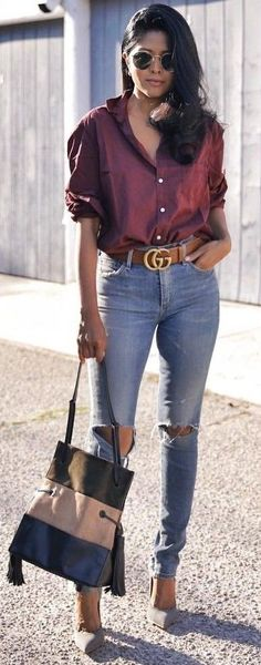 #fall #trending #outfits | Burgundy   Denim
