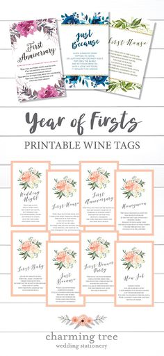 Here's an idea for a fun bridal shower gift. Create a gift basket for the bride and groom by attaching these tags to 8 bottles of wine and giving it to them at their bridal shower. Year of Firsts Printable Wine Tags, Bridal Shower Gifts, Wine Bottle Poems, Wine Gift Basket, Bridal Shower Wine Bottle Tags #bridalshowergift #yearoffirstswinetags #milestonewinetags www.etsy.com/shop/charmingtreedesign