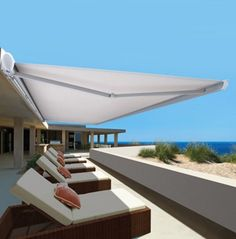 Folding Arm Awnings are ideal as a roll away cover for a patio, deck, balcony or commercial applications such as restaurants. #decks #patios #pergolas #vernadahs #balcony www.northshorecanvas.com.au