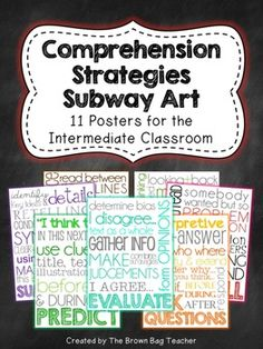 Bright and fun Comprehension Strategies Subway Art Posters! These posters are perfect for hanging on a focus wall as each strategy is studied.