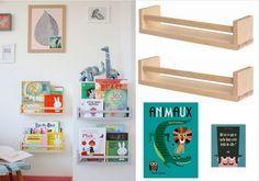 Idée déco pour chambre d'enfant: détourner des étagères à épices pour créer une petite bibliothèque
