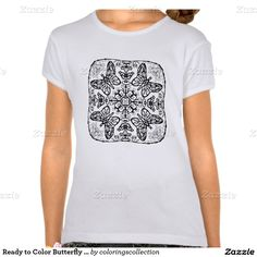 Ready to Color Butterfly Mandala Girl's Top Shirt