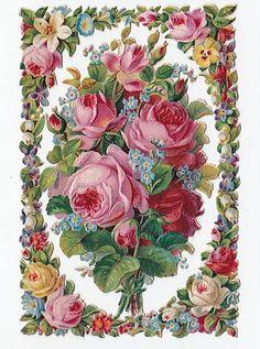 botão bumble: Victorian Rose clip art para rótulos e quadros de livros da sucata antigas