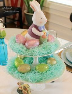 Two Tier Plate Stand Easter Egg Decoration Easter Table Settings, Easter Table Decorations, Easter Centerpiece, Winter Centerpieces, Table Centerpieces, Easter Crafts For Kids, Easter Ideas, Easter Stuff, Bunny Crafts