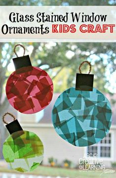 Glass Stained Window Ornaments Kids Crafts for Toddlers and Kids! Great for Christmas decorations and Fine Motor Skills practice! by Victoria from ABC Creative Learning winter Glass Stained Christmas Window Ornaments - Simply Today Life Preschool Christmas, Toddler Christmas, Easy Christmas Crafts, Christmas Activities, Christmas Projects, Kids Christmas, Christmas Ornaments, Glass Ornaments, Snowman Ornaments