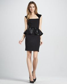 Cecil Leather-Peplum Dress by Alice + Olivia at Neiman Marcus.