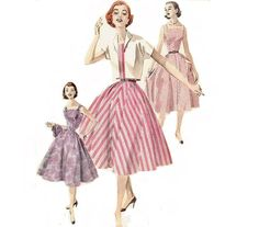 1950s Dress and Jacket Pattern Sleeveless Dress by CherryCorners