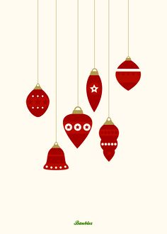 Baubles | Vintage Christmas Card