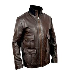 Biker Brown Leather Jacket Hunter One