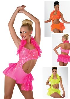 S074 - Ariba Ariba - Ruffles, Neon and Sparkle; What else do you need to compete? This side cutout shortfall comes in Glo Orange, Hot Pink and Chartreuse.