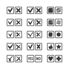 Check box iconset Graphics Set of different vector check box icons for voting, agreement, confirmation, acceptance and task lis by Alex Oakenman