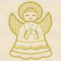 #FREE Candlewicking Angel I have sewn this out many, many times with never a problem. Just 1 of the Free designs Kaz @DesignsinStitches offers that you will fall in love with #MachineEmbroidery