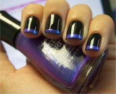 Black Polish with Purple French