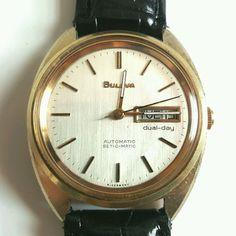 67cb143c3b7 Vintage Gold Bulova Automatic Self Winding Day Date Men s Wrist Watch