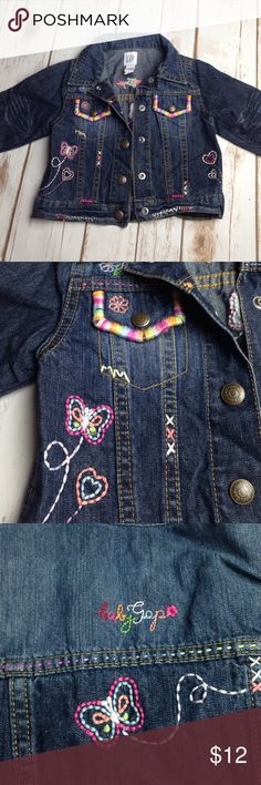 Gap jean jacket Embroidered Gap jacket. Excellent condition! Adorable details! GAP Jackets & Coats Jean Jackets