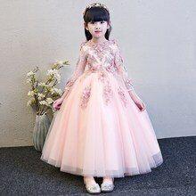 2e556003702cb Filles robes de mariée à manches longues rose perle Appliques dentelle fête  princesse robe d
