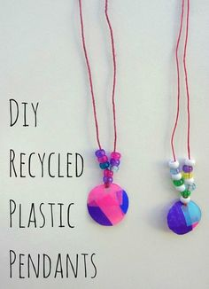 Make a fashion statement with DIY pendants made from recycled plastic bottles. Great craft project idea for kids!