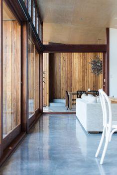 Polished Concrete floor Redhead Alterations by Bourne Blue Architecture Architecture Design, Sustainable Architecture, Floor Design, House Design, Louvre Windows, Metal Cladding, Polished Concrete, Design Blog, Sliding Glass Door
