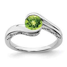 SIZE 9 STERLING SILVER NATURAL GENUINE 0.6CT GREEN PERIDOT /& DIAMOND RING