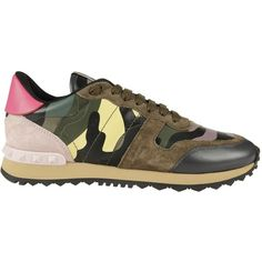 Valentino Garavani Rockstud Camouflage Sneakers (€542) ❤ liked on Polyvore featuring shoes, sneakers, multicolour, valentino sneakers, studded shoes, metallic sneakers, multi color shoes and colorful shoes