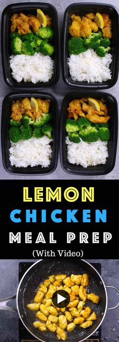 Save time and money when meal prep this authentic and delicious Chinese Lemon Chicken with rice and broccoli for the entire week! It's so much better than take outs. Make ahead recipe. Video recipe. | Tipbuzz.com