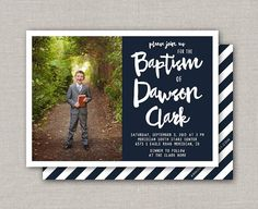 LDS Baptism Invitation Dawson by announcingyou on Etsy