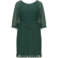 Lovedrobe Dark-Green Plus Size Pleated tie belt dress ($71) ❤ liked on Polyvore featuring dresses, plus size, green mini dress, tie belt, plus size chiffon dresses, short dresses and plus size dresses