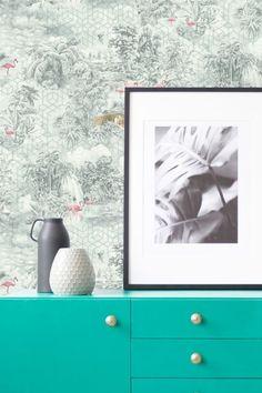 Mayang wallpaper design by Albany featuring exotic jungle scenes and animals. Flamingo Wallpaper, Green Wallpaper, Wall Wallpaper, Albany Wallpaper, Jungle Scene, Geometric Background, Designer Wallpaper, True Colors, Exotic