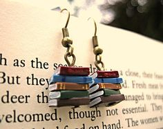 Stack of Books Earrings, Library Colours (Made to Order) - Book Jewelry by Coryographies.  £5.50