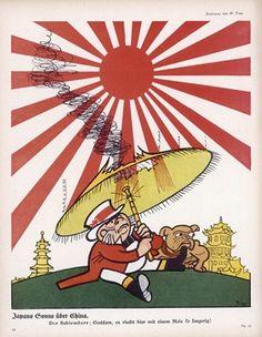 "1915 German anti-British postcard: ""When Japan enters the war, John Bull finds the Rising Sun a little too hot for him !"""