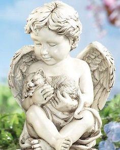 Cherub Angel Kitty Cat Pet Memorial Prayer Poem Garden Statue Sculpture  Keepsake
