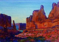 Wall Street - Arches National Park by Carl Dalio Watercolor ~ 21 x 29 Watercolor Pictures, Watercolor Paintings, Watercolor Ideas, Watercolors, Santa Fe Style, Sharpie Art, Watercolor Landscape, Various Artists, Doodle Art