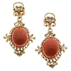 Coral Pearl Gold Dangle Earrings   From a unique collection of vintage dangle earrings at https://www.1stdibs.com/jewelry/earrings/dangle-earrings/