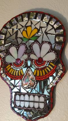 Mirror Day of the Dead Sugar Skull Mosaic Dia de Los Muertos plaque wall hanging