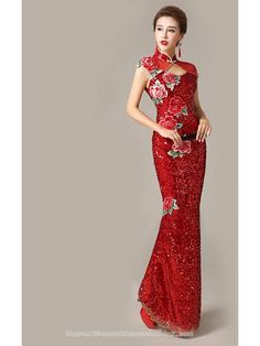 43292f53fec traditional chinese clothing traditional chinese dress Embroidered peony  floral red sequins long cheongsam Wedding Dresses Grey