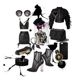 """Black mania🖤"" by fanipolychroniou on Polyvore featuring Versus, T By Alexander Wang, storets, Steve Madden, Henri Bendel, Moschino, River Island, Gucci, Yves Saint Laurent and Versace"