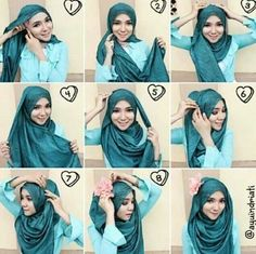 Love the tutorial very nice and covers chest – Hijab Fashion Tutorial Hijab Pesta, Hijab Style Tutorial, Islamic Fashion, Muslim Fashion, Hijab Fashion, Hijabs, How To Wear Hijab, Simple Hijab, Modele Hijab