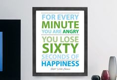 "Ralph Waldo Emerson Quote ""For Every Minute You Are Angry"" Inspiring Wall Art Print, Typographic, Typography Poster, Illustration, Modern Home Décor"