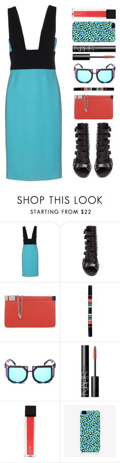 """""""bright / brave"""" by foundlostme ❤ liked on Polyvore featuring FAUSTO PUGLISI, Ann Demeulemeester, Maison Margiela, NARS Cosmetics, Jouer, The Small Print. and twotonedress"""