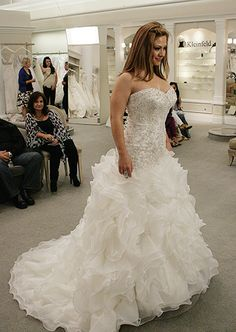Say Yes to the Dress. I love this dress! bling, ruffles, neckline...but I admit--while I do like ruffles, I would like it better with tulle or something else for a more princessy look