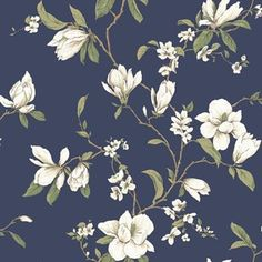 Magnolia Branch Wallpaper by York Wallpaper. We're having a big sale! Take an additional off all wallpaper and fabric! B&w Wallpaper, Cottage Wallpaper, Wallpaper Stores, Botanical Wallpaper, Wallpaper Online, Flower Wallpaper, Pattern Wallpaper, Bathroom Wallpaper, Blue Floral Wallpaper